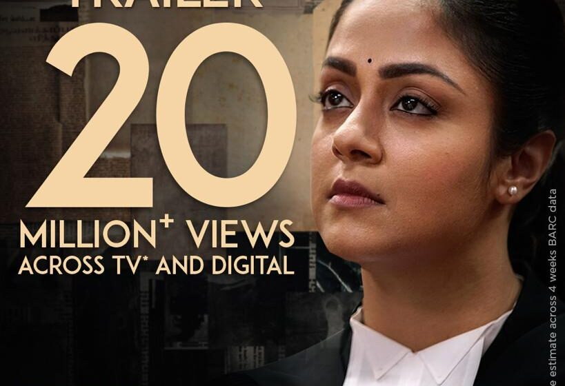 Trailer for the highly-anticipated Tamil film Ponmagal Vandhal on Amazon Prime Video receives 20 Million+ Views on TV and YouTube